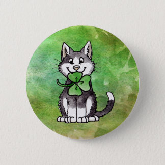 Shamrock Kitty 6 Cm Round Badge