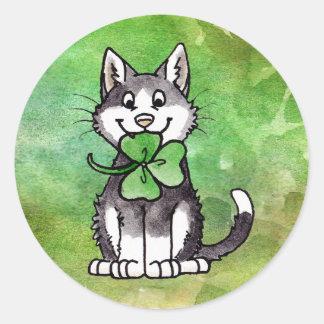 Shamrock Kitty Classic Round Sticker