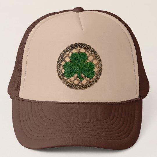 Shamrock, Lattice And Celtic Knots On Beige Hat
