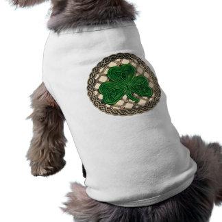 Shamrock, Lattice And Celtic Knots On Beige Sleeveless Dog Shirt