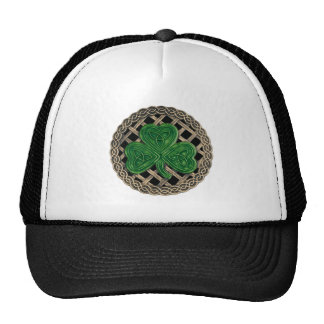 Shamrock, Lattice And Celtic Knots On Black Hat
