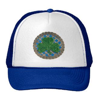 Shamrock, Lattice And Celtic Knots On Blue Hat
