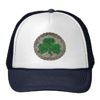 Shamrock, Lattice And Celtic Knots On Gray Hat