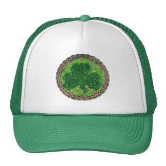 Shamrock, Lattice And Celtic Knots On Green Hat