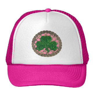 Shamrock, Lattice And Celtic Knots On Pink Hat