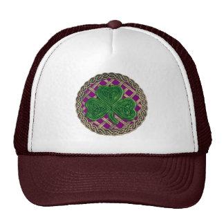 Shamrock, Lattice And Celtic Knots On Purple Hat