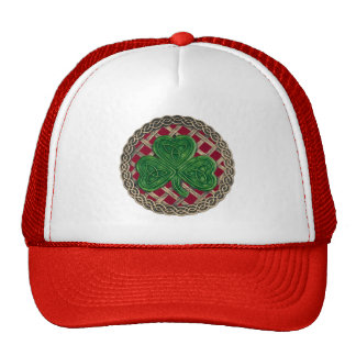 Shamrock, Lattice And Celtic Knots On Red Hat