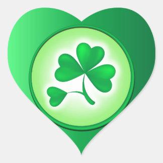 Shamrock Leaf Heart Sticker