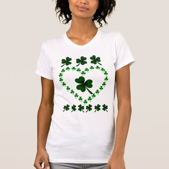 Shamrock Leaves and Heart Wreath T-Shirt