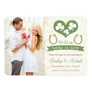 Shamrock Lucky In Love Save the Date 13 Cm X 18 Cm Invitation Card