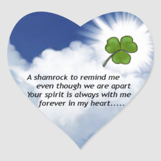 Shamrock Memorial Heart Sticker