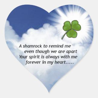 Shamrock Memorial Heart Sticker