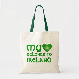 Shamrock 'My heart belongs to Ireland' bag green