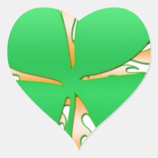 shamrock on fire heart sticker