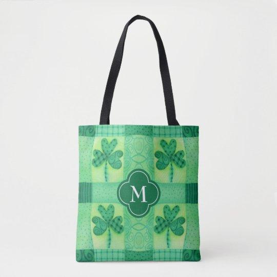 Shamrock Patchwork Monogram Tote Bag