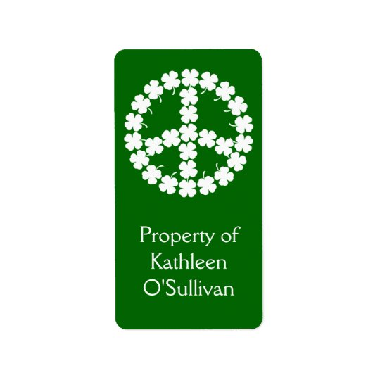 Shamrock Peace Symbol Address Label