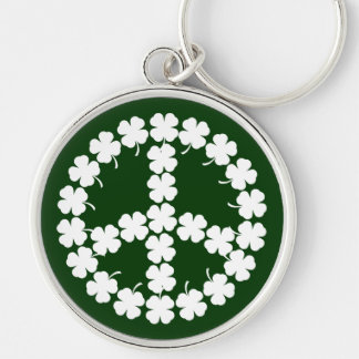 Shamrock Peace Symbol Silver-Colored Round Key Ring