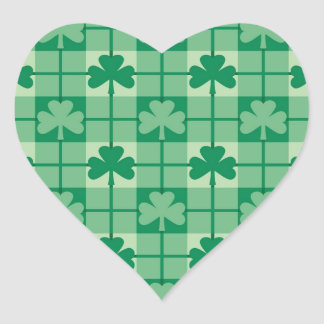 Shamrock Plaid Heart Sticker