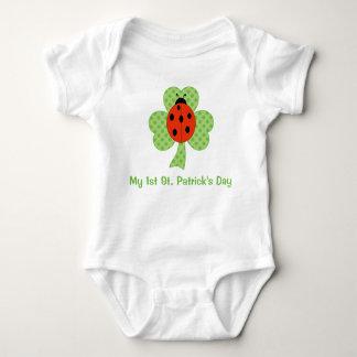 Shamrock Polka dots Ladybug   1st St. Patricks Day Baby Bodysuit