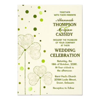 Shamrock Polka Dots Wedding Invitation