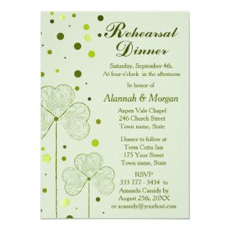 Shamrock Polka Dots Wedding Rehearsal Dinner 2 13 Cm X 18 Cm Invitation Card