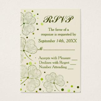 Shamrock Polka Dots Wedding RSVP Business Card