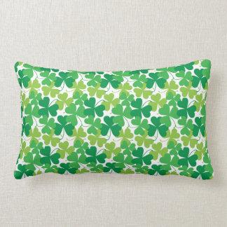 Shamrock Print Pillow, Irish Decor Lumbar Cushion