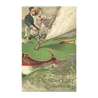 Shamrock Sailboat Couple Sailing Gallery Wrapped Canvas