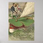 Shamrock Sailboat Couple Sailing Poster
