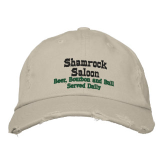 Shamrock Saloon, Beer, Bourbon and Bull Served ... Embroidered Baseball Cap