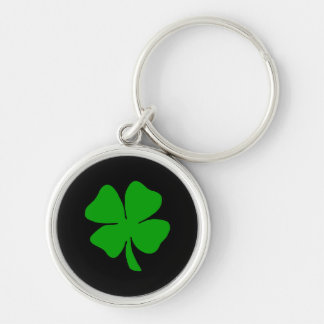 Shamrock Silver-Colored Round Key Ring