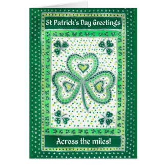 Shamrock St Patrick's Day Card Across the Miles