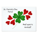"""Shamrock with hearts 5x7"""" personalized invitations"""