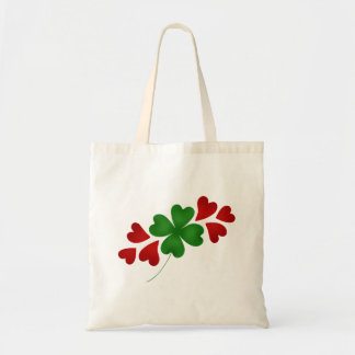 Shamrock with hearts budget tote bag