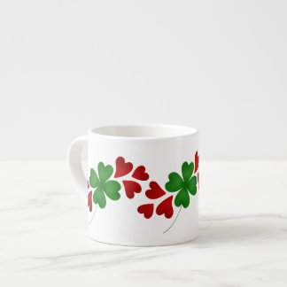 Shamrock with hearts espresso cup