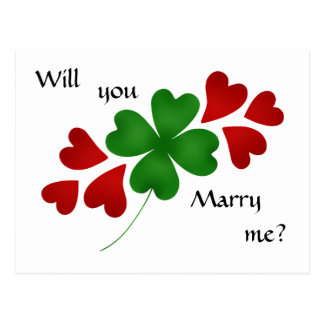 Shamrock with hearts marriage proposal postcard