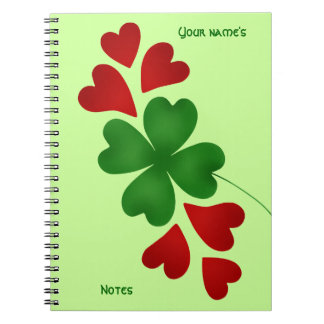 Shamrock with hearts notebook