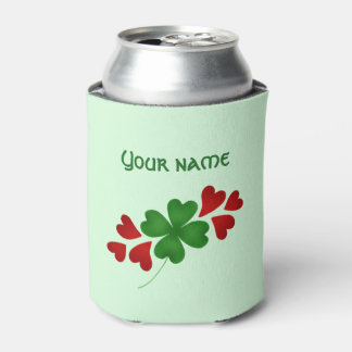 Shamrock with hearts St Patricks Day Can Cooler