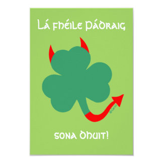 Shamrock with Horns Hellraising St Pat's Party 9 Cm X 13 Cm Invitation Card