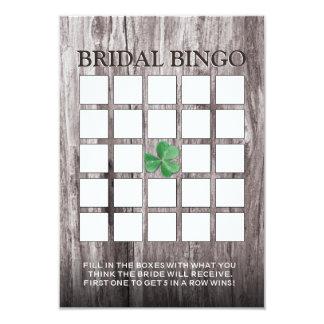 Shamrock Wood Background Bridal Shower Bingo Cards 9 Cm X 13 Cm Invitation Card