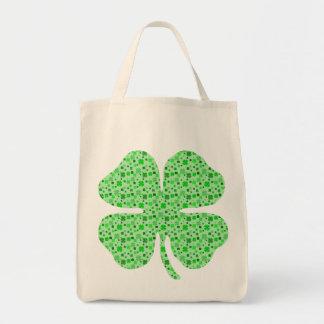Shamrocks 4 leaf clovers png canvas bags