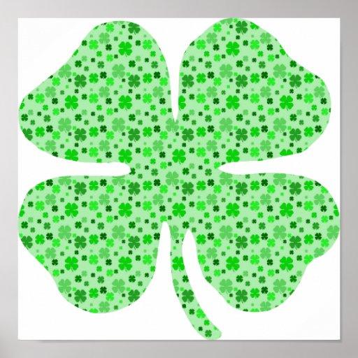 Shamrocks 4 leaf clovers.png posters
