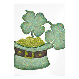 shamrocks and a hatful of gold for Saint Patricks Magnetic Invitations