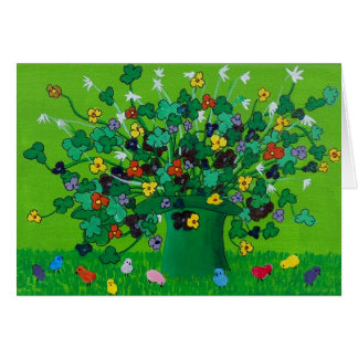Shamrocks and Flowers and Chicks Note Card