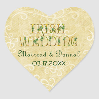 Shamrocks and Gold Irish Wedding Heart Sticker