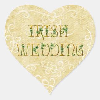 Shamrocks and Gold Irish Wedding Heart Sticker