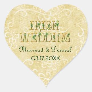 Shamrocks and Gold Irish Wedding Stickers