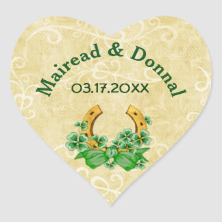 Shamrocks and Gold Irish Wedding Heart Stickers