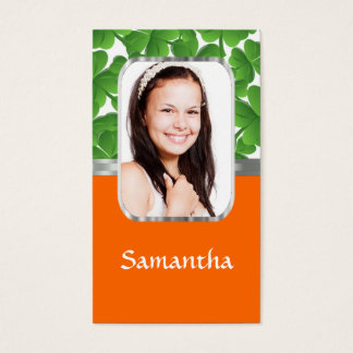 Shamrocks and orange business card