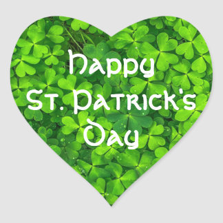Shamrocks Clover Leaves St. Patrick's Day Fun Heart Sticker